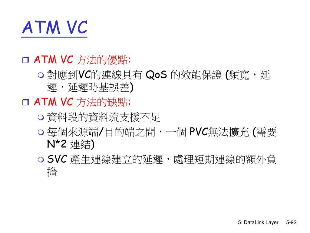 ATM VC ATM VC 方法的優點: 對應到VC的連線具有 QoS 的效能保證 (頻寬,延遲,延遲時基誤差) ATM VC 方法的缺點: