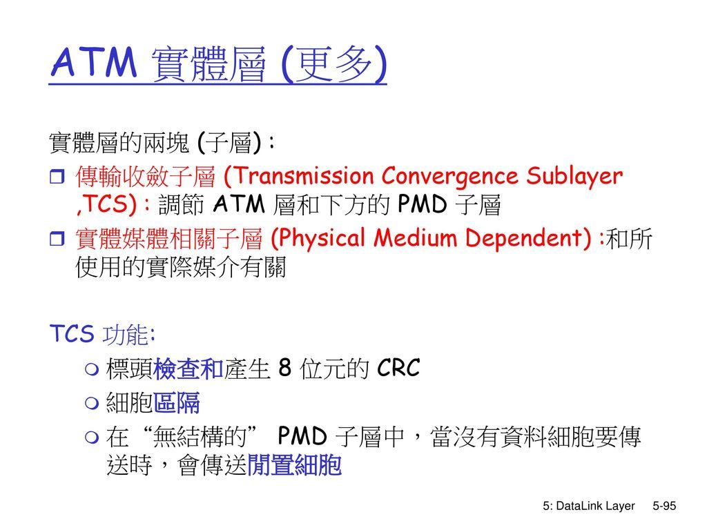 ATM 實體層 (更多) 實體層的兩塊 (子層) :