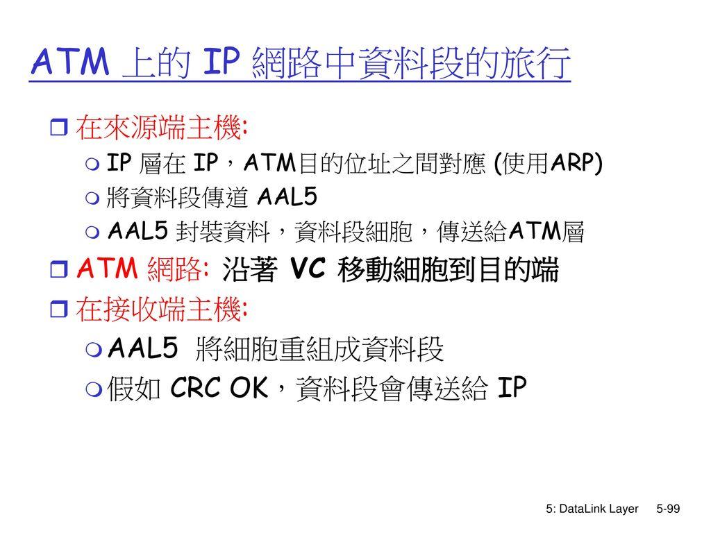 ATM 上的 IP 網路中資料段的旅行 在來源端主機: ATM 網路: 沿著 VC 移動細胞到目的端 在接收端主機: