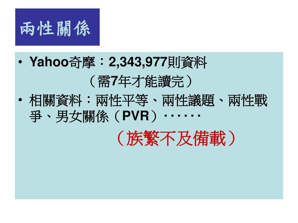兩性關係 (族繁不及備載) Yahoo奇摩:2,343,977則資料 (需7年才能讀完)