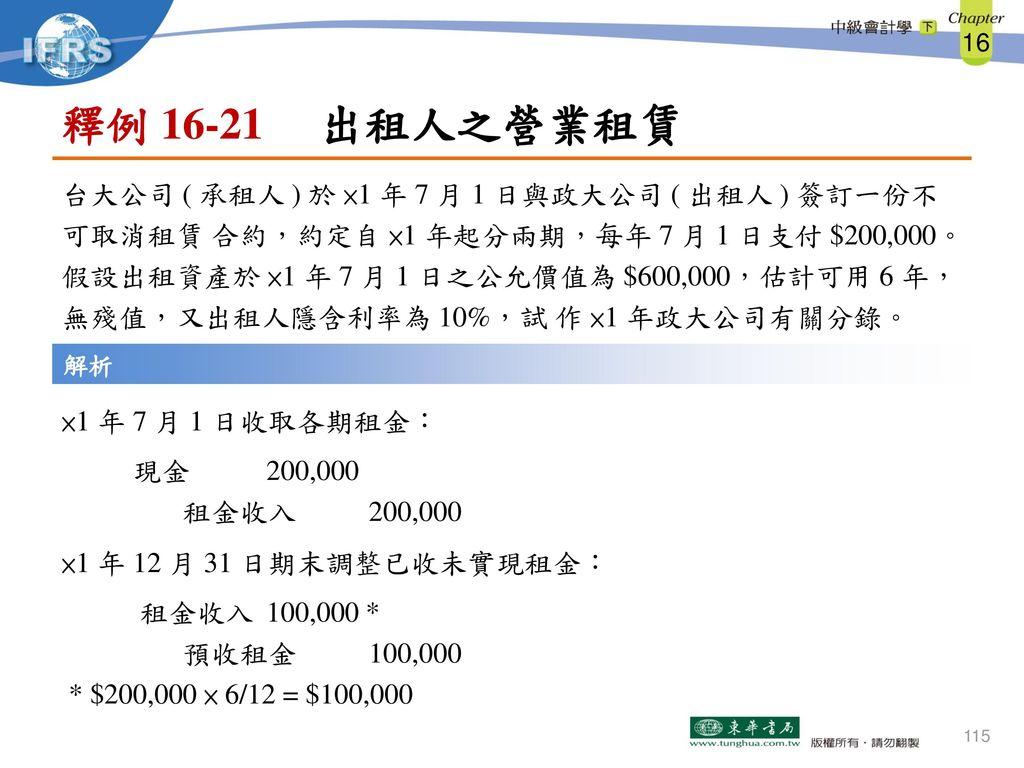 釋例 16-21 出租人之營業租賃