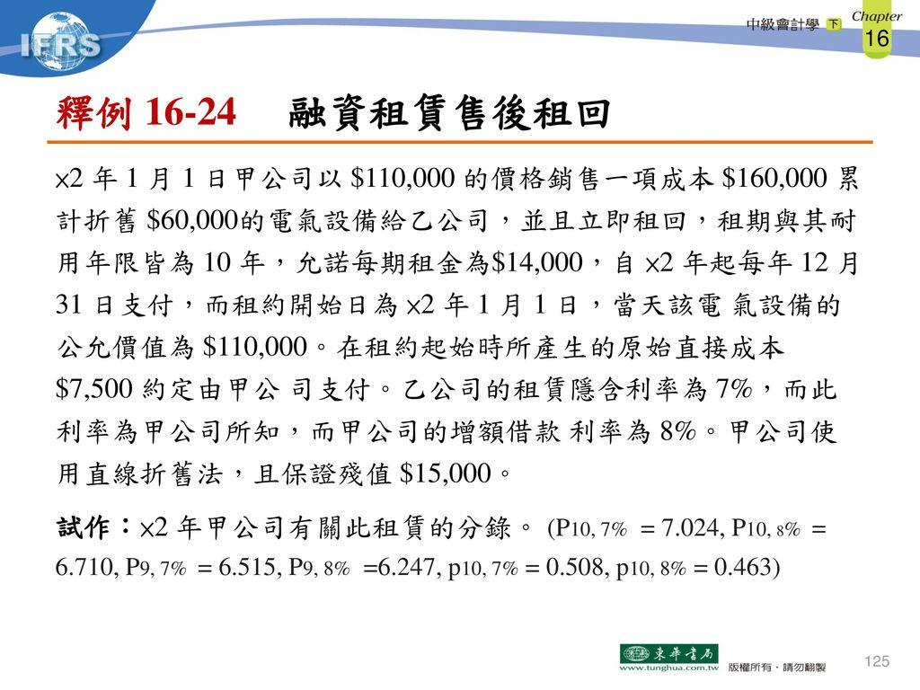 釋例 16-24 融資租賃售後租回