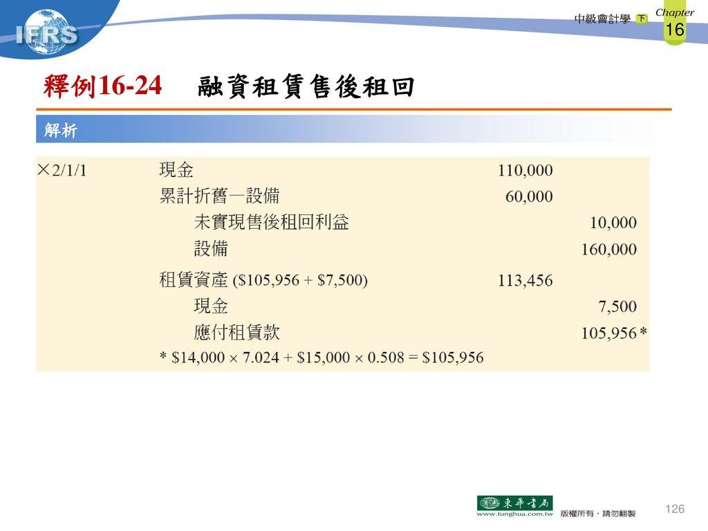 釋例16-24 融資租賃售後租回 解析