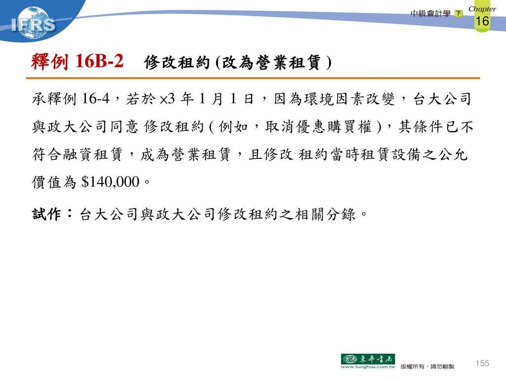 釋例 16B-2 修改租約 (改為營業租賃 ) 承釋例 16-4,若於 ×3 年 1 月 1 日,因為環境因素改變,台大公司 與政大公司同意 修改租約 ( 例如,取消優惠購買權 ),其條件已不 符合融資租賃,成為營業租賃,且修改 租約當時租賃設備之公允 價值為 $140,000。