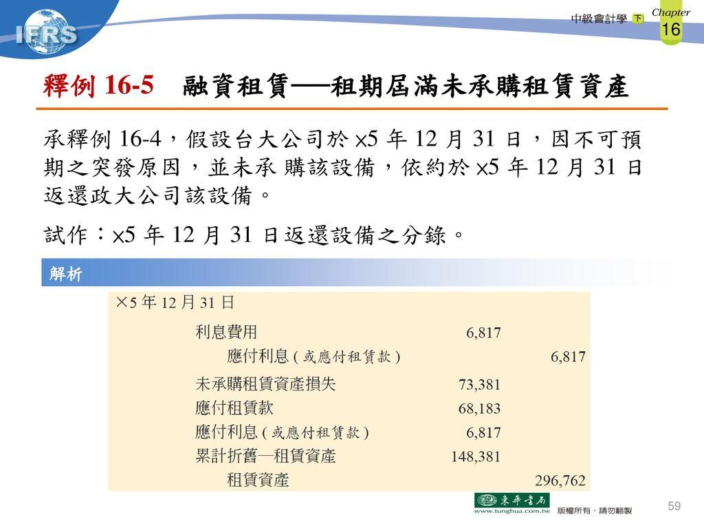 釋例 16-5 融資租賃──租期屆滿未承購租賃資產