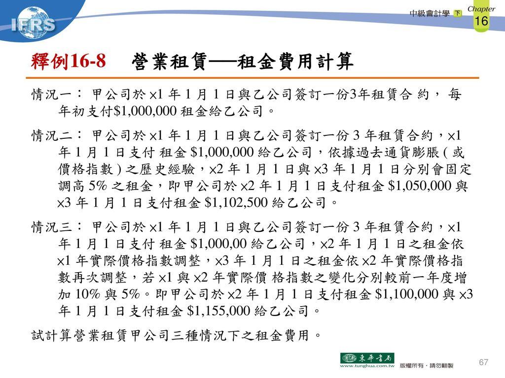 釋例16-8 營業租賃──租金費用計算