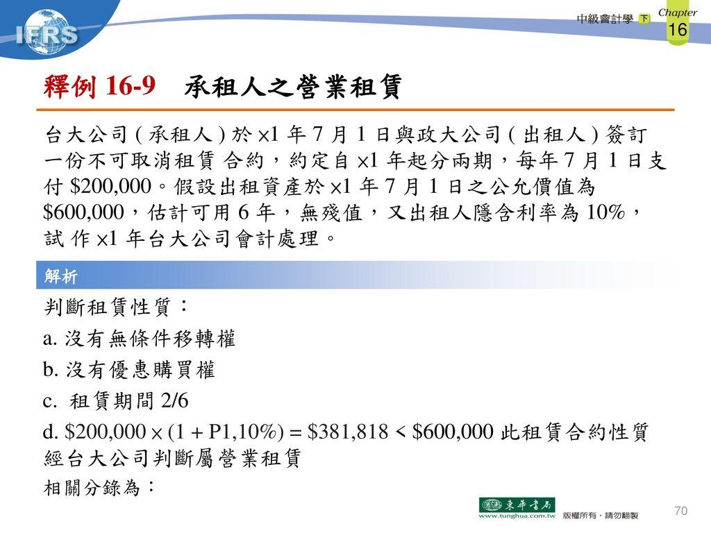 釋例 16-9 承租人之營業租賃