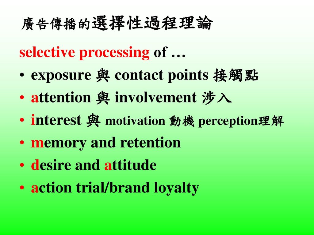 selective processing of … exposure 與 contact points 接觸點