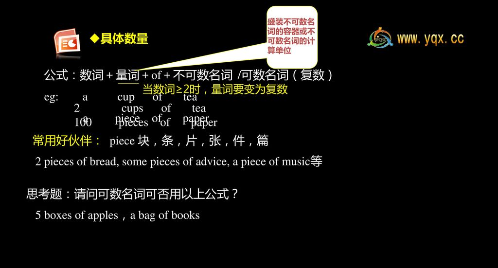 2 pieces of bread, some pieces of advice, a piece of music等