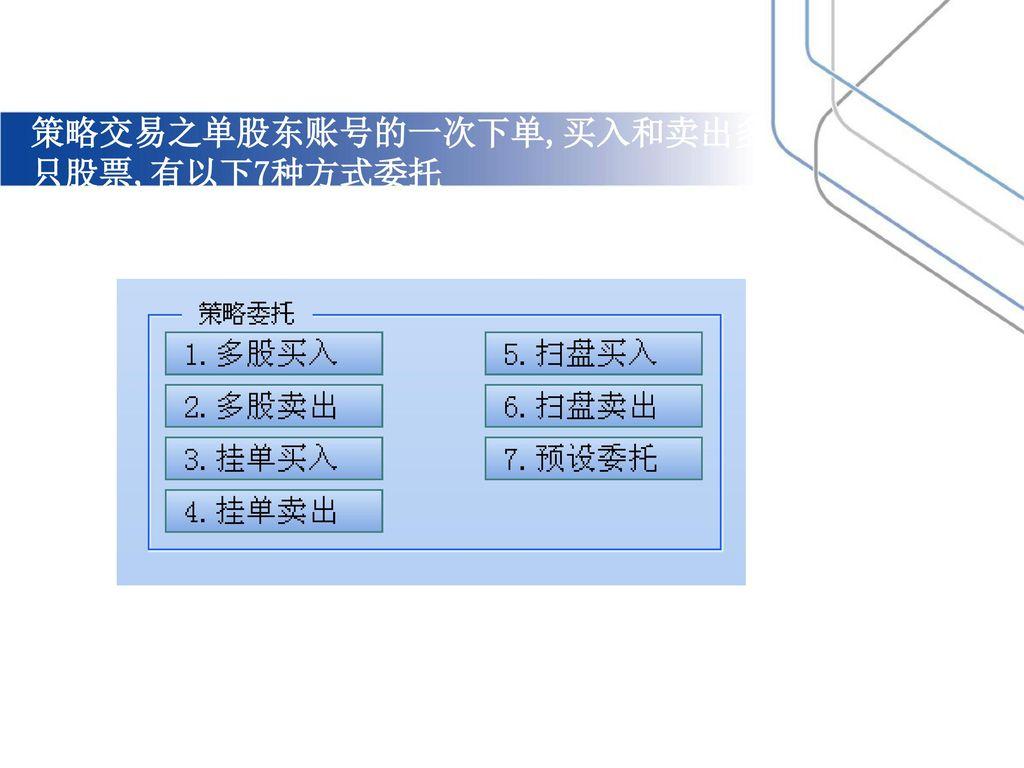 策略交易之单股东账号的一次下单,买入和卖出多只股票,有以下7种方式委托