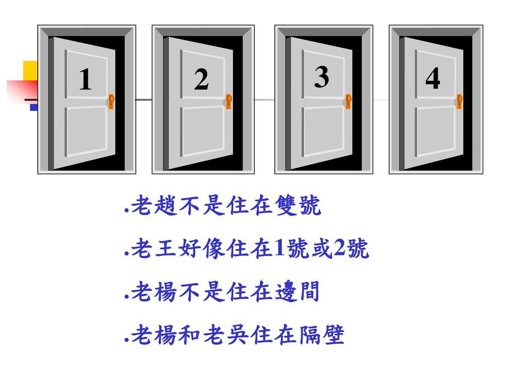 1 2 3 4 .老趙不是住在雙號 .老王好像住在1號或2號 .老楊不是住在邊間 .老楊和老吳住在隔壁
