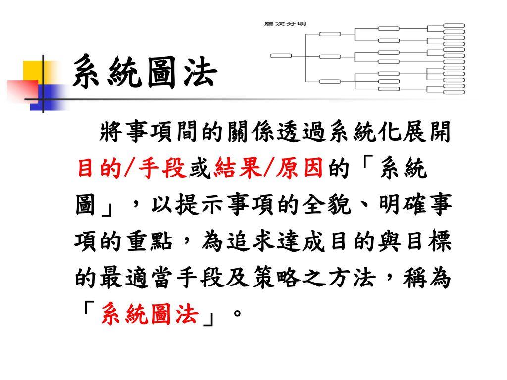 系統圖法 將事項間的關係透過系統化展開 目的/手段或結果/原因的「系統 圖」,以提示事項的全貌、明確事 項的重點,為追求達成目的與目標