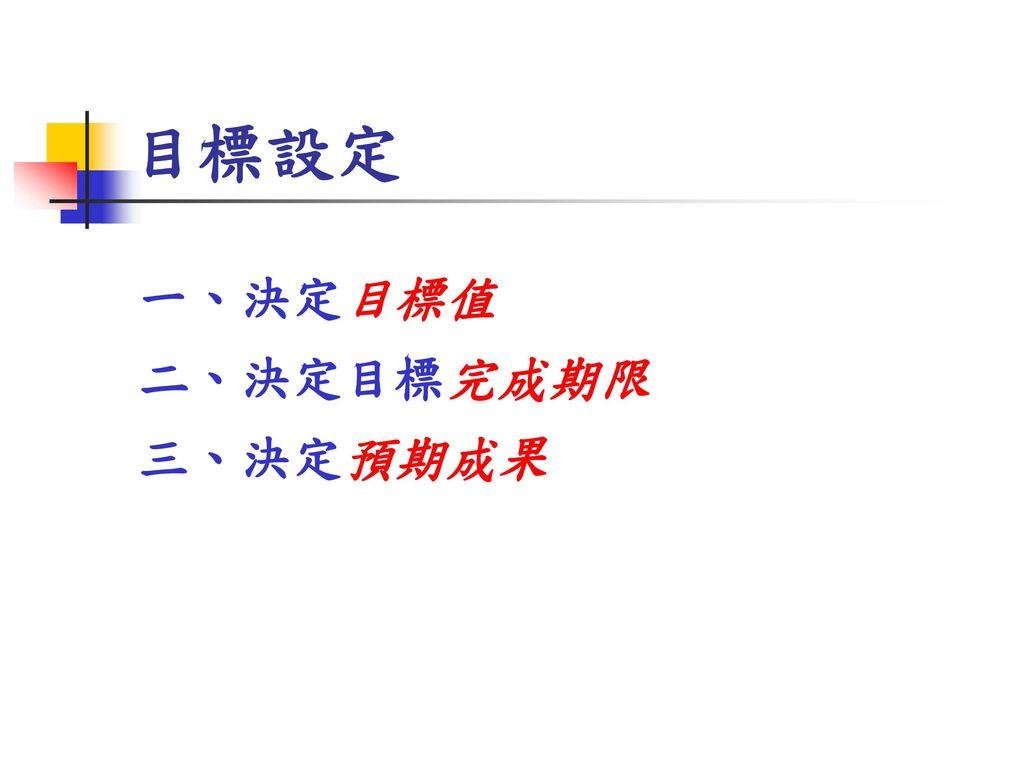 目標設定 一、決定目標值 二、決定目標完成期限 三、決定預期成果