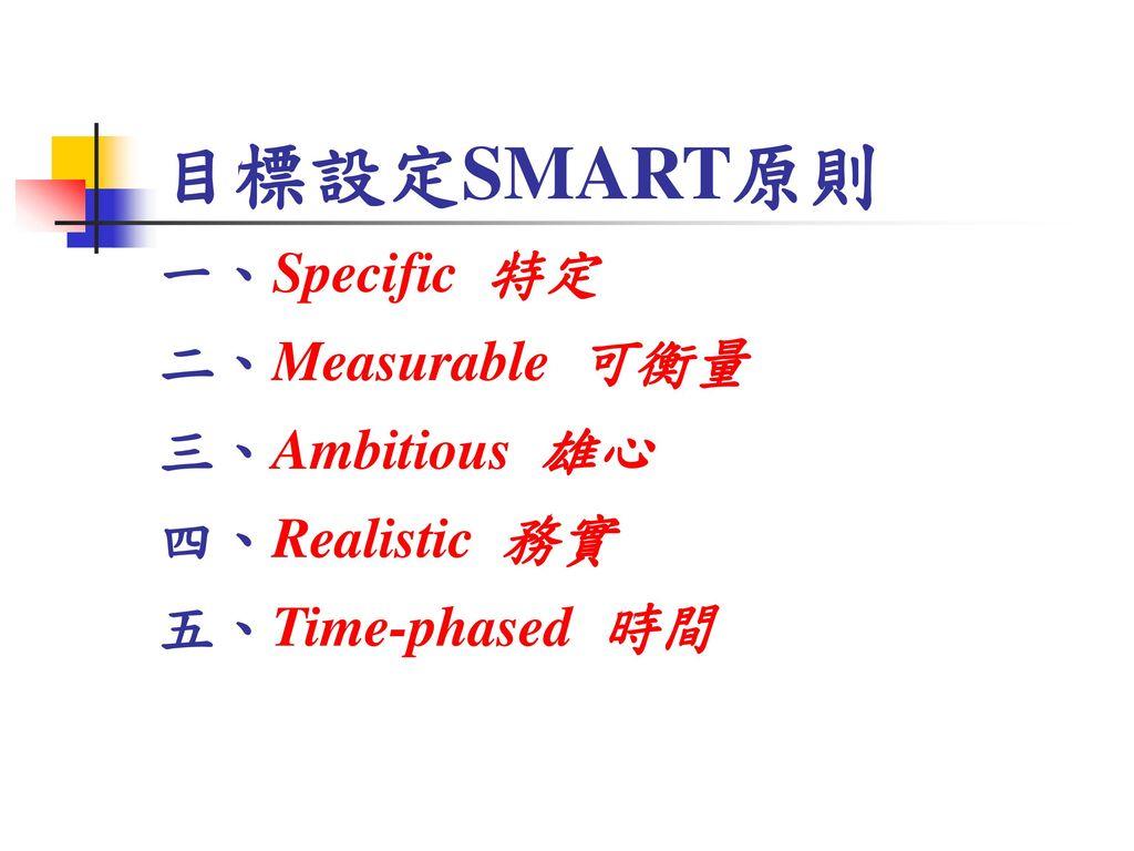 目標設定SMART原則 一、Specific 特定 二、Measurable 可衡量 三、Ambitious 雄心