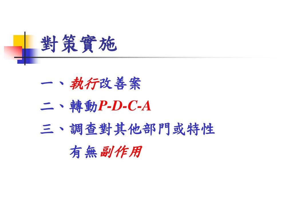 對策實施 一、執行改善案 二、轉動P-D-C-A 三、調查對其他部門或特性 有無副作用