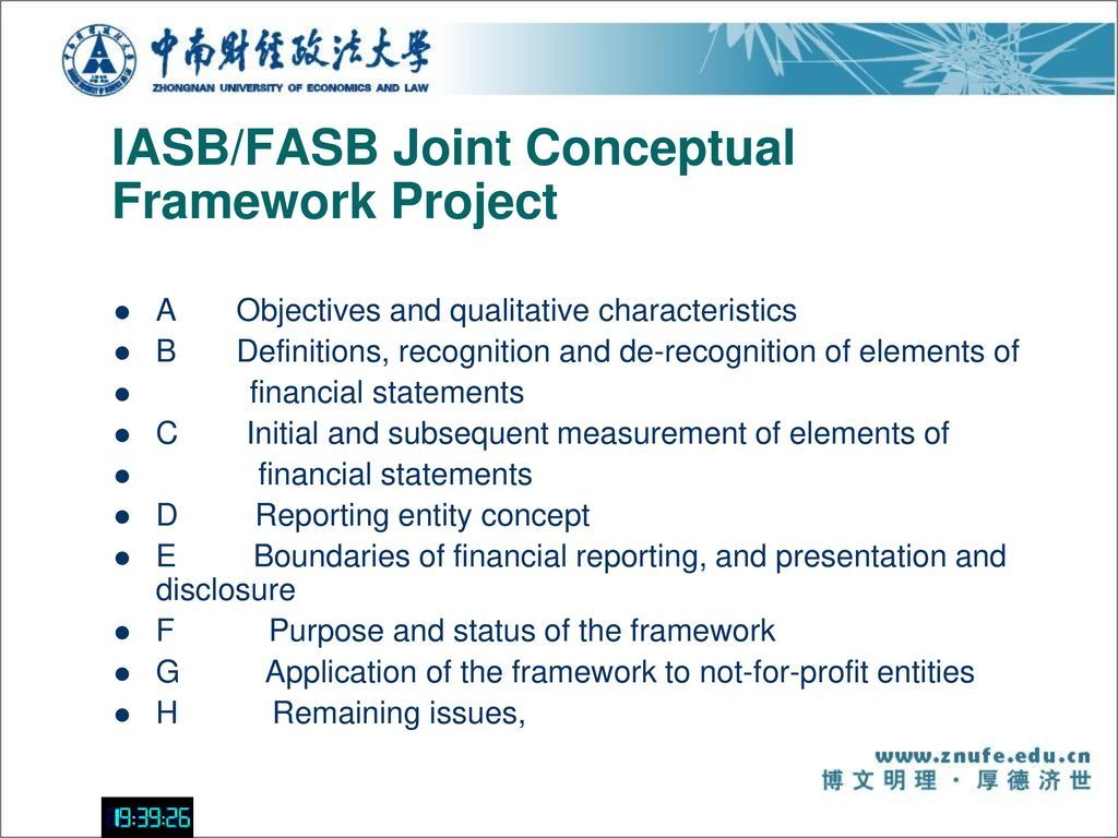 iasb fasb joint project on The goal of the boards of the iasb and fasb is to develop a joint conceptual framework project that is both complete and internally consistent however, as a limitation the boards concluded that inancial information about a company that is useful to external users in making decisions in their capacity as capital providers.