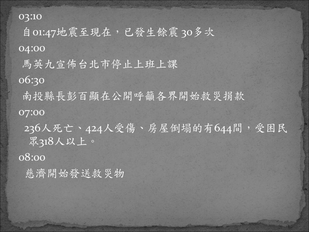03:10 自01:47地震至現在,已發生餘震 30多次. 04:00. 馬英九宣佈台北市停止上班上課. 06:30. 南投縣長彭百顯在公開呼籲各界開始救災捐款. 07:00. 236人死亡、424人受傷、房屋倒塌的有644間,受困民 眾318人以上。