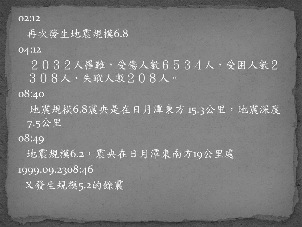 02:12 再次發生地震規模6.8. 04:12. 2032人罹難,受傷人數6534人,受困人數2 308人,失蹤人數208人。 08:40. 地震規模6.8震央是在日月潭東方 15.3公里,地震深度 7.5公里.