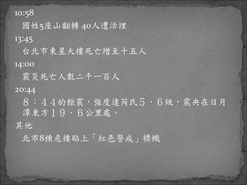 10:58 國姓5座山翻轉 40人遭活埋. 13:45. 台北市東星大樓死亡增至十五人. 14:00. 震災死亡人數二千一百人. 20:44. 8:44的餘震,強度達芮氏5.6級,震央在日月 潭東方19.6公里處。