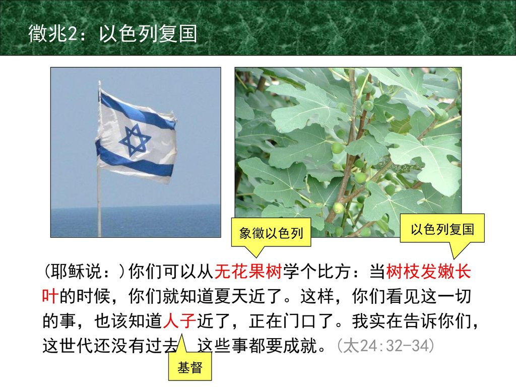 徵兆2:以色列复国 以色列复国. 象徵以色列. (耶稣说:)你们可以从无花果树学个比方:当树枝发嫩长叶的时候,你们就知道夏天近了。这样,你们看见这一切的事,也该知道人子近了,正在门口了。我实在告诉你们,这世代还没有过去,这些事都要成就。(太24:32-34)