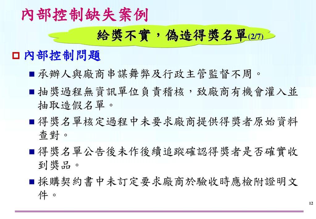 內部控制缺失案例 給獎不實,偽造得獎名單(3/7) 改進作為