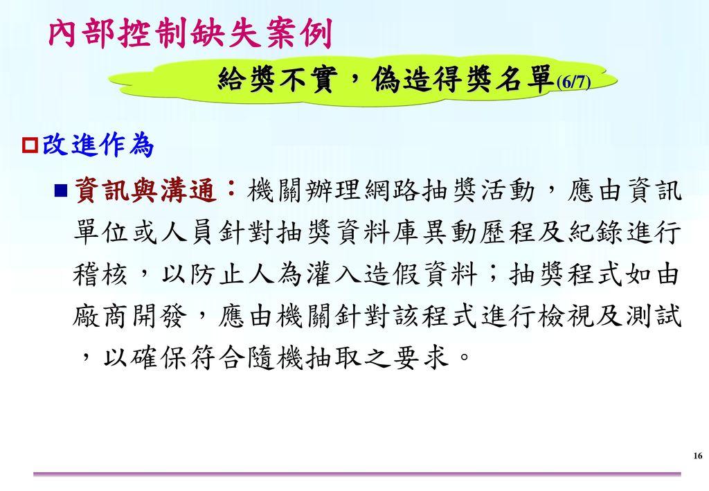 內部控制缺失案例 給獎不實,偽造得獎名單(7/7) 改進作為 監督