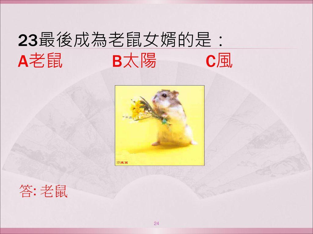 23最後成為老鼠女婿的是: A老鼠 B太陽 C風 答: 老鼠