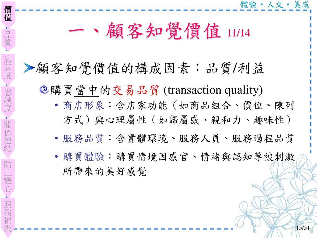 一、顧客知覺價值 11/14 顧客知覺價值的構成因素:品質/利益 購買當中的交易品質 (transaction quality)