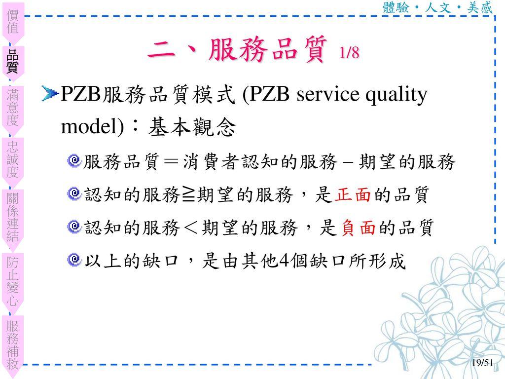 二、服務品質 1/8 PZB服務品質模式 (PZB service quality model):基本觀念