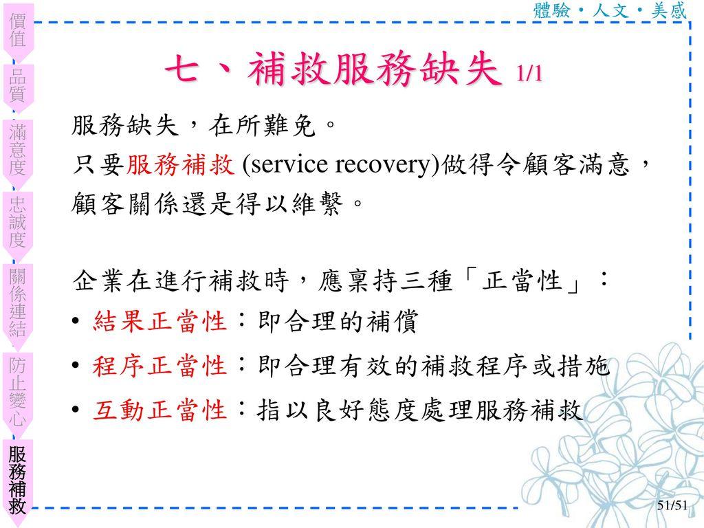七、補救服務缺失 1/1 服務缺失,在所難免。 只要服務補救 (service recovery)做得令顧客滿意,顧客關係還是得以維繫。