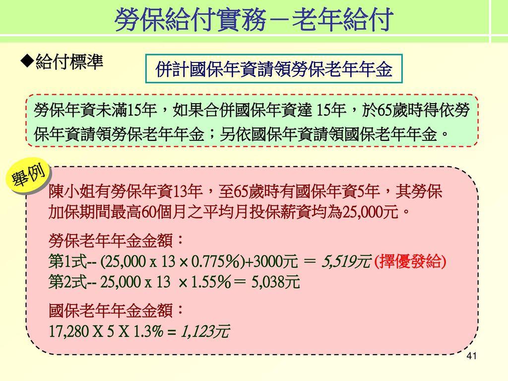 勞保給付實務-老年給付 給付標準 併計國保年資請領勞保老年年金 舉例