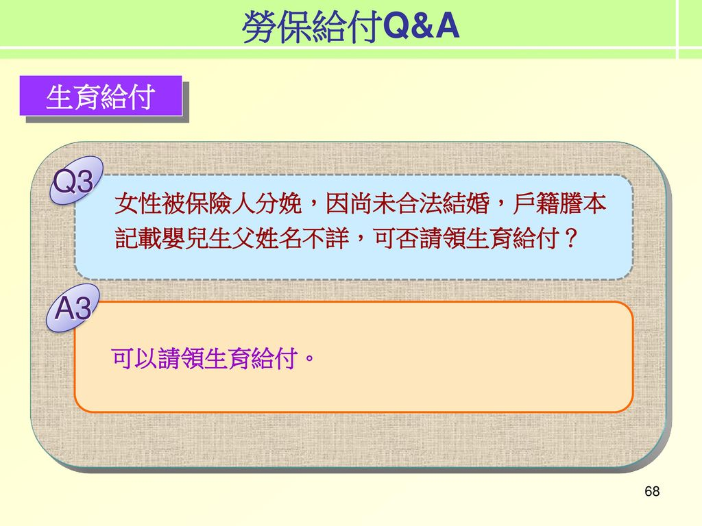 勞保給付Q&A 勞保給付實務 Q3 A3 生育給付 女性被保險人分娩,因尚未合法結婚,戶籍謄本記載嬰兒生父姓名不詳,可否請領生育給付?