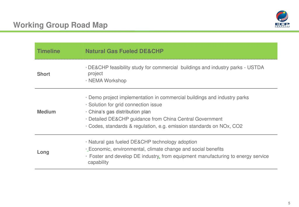 Working Group Road Map Timeline Natural Gas Fueled DE&CHP