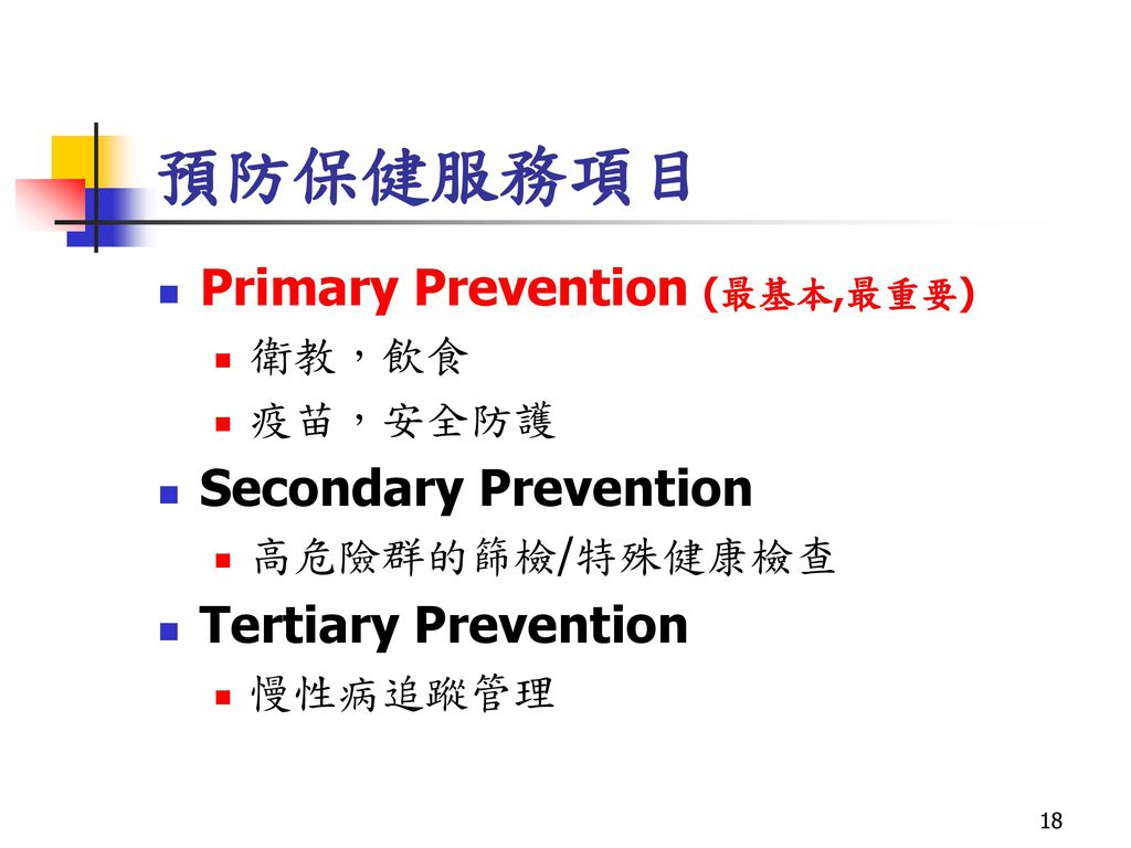 預防保健服務項目 Primary Prevention (最基本,最重要) Secondary Prevention
