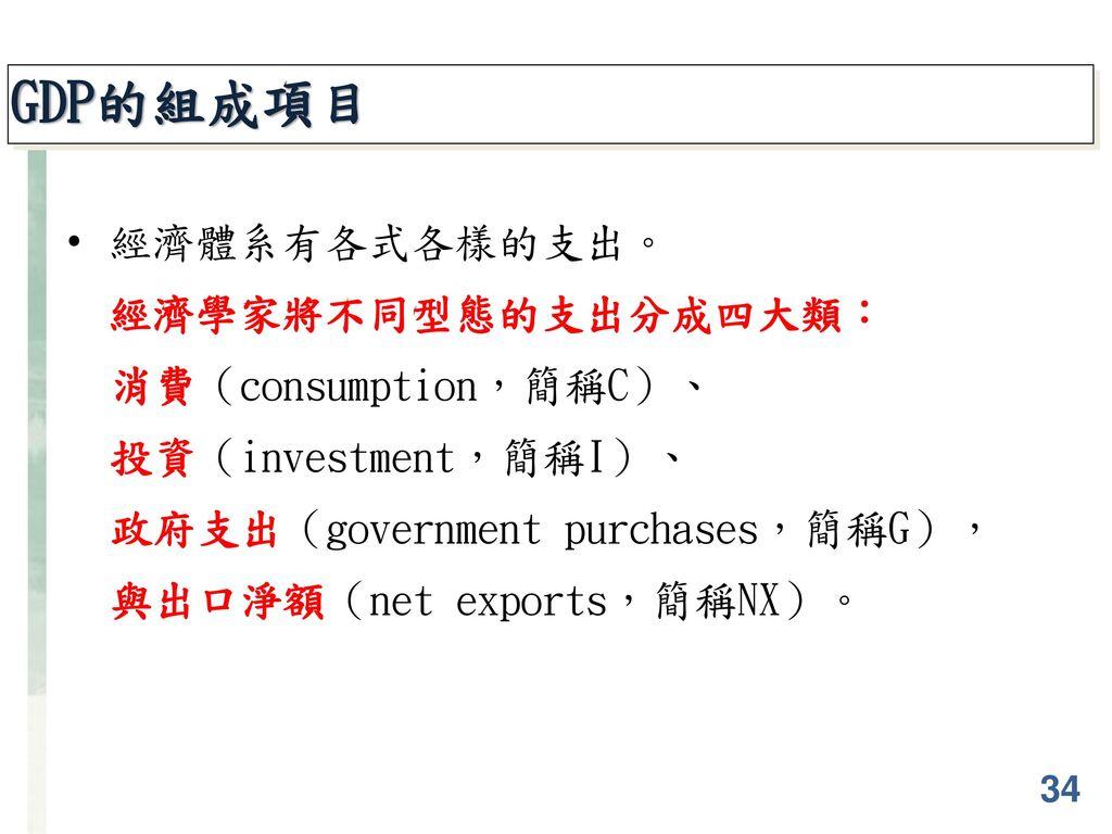 GDP的組成項目 經濟體系有各式各樣的支出。 經濟學家將不同型態的支出分成四大類: 消費(consumption,簡稱C)、