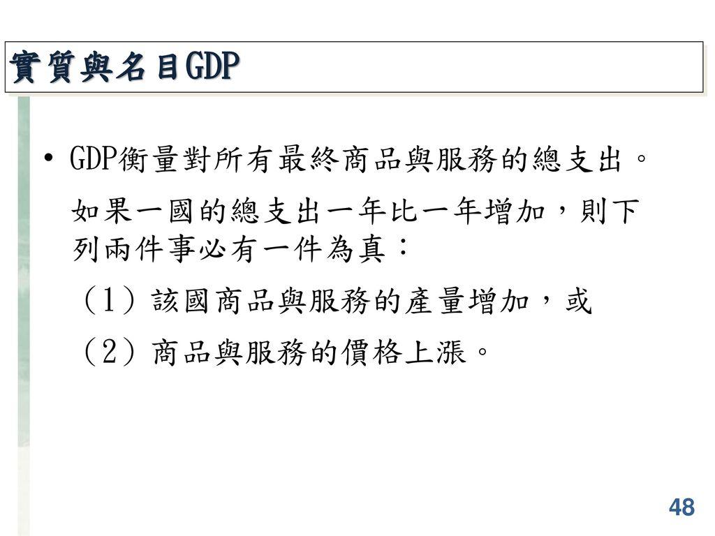 實質與名目GDP GDP衡量對所有最終商品與服務的總支出。 如果一國的總支出一年比一年增加,則下 列兩件事必有一件為真: