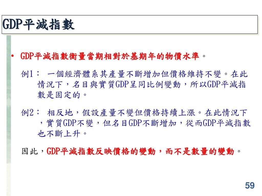 GDP平減指數 GDP平減指數衡量當期相對於基期年的物價水準。