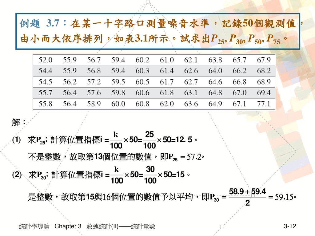 例題 3.7:在某一十字路口測量噪音水準,記錄50個觀測值,由小而大依序排列,如表3.1所示。試求出P25, P30, P50, P75。