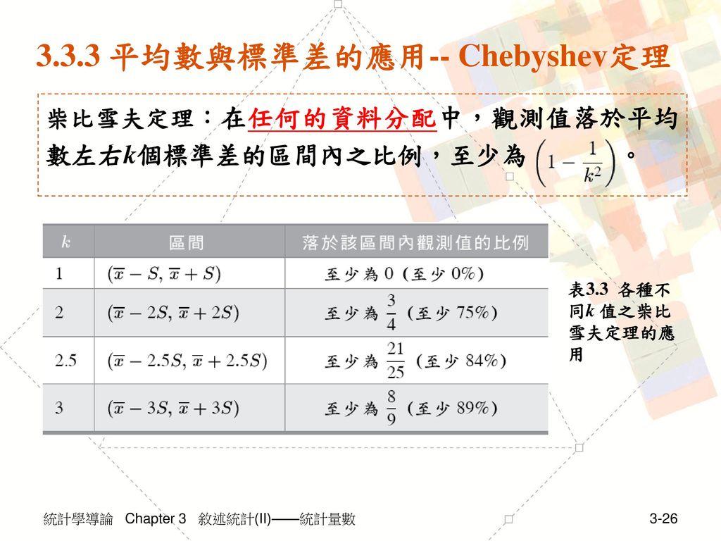 3.3.3 平均數與標準差的應用-- Chebyshev定理
