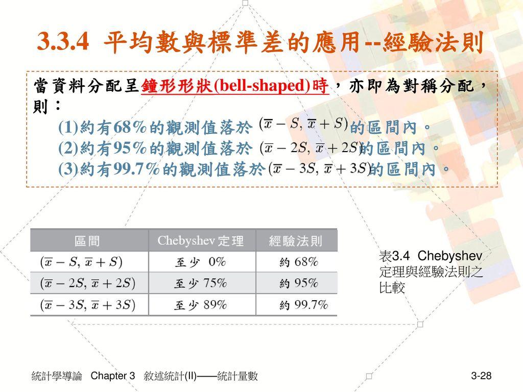 3.3.4 平均數與標準差的應用--經驗法則 當資料分配呈鐘形形狀(bell-shaped)時,亦即為對稱分配,則: