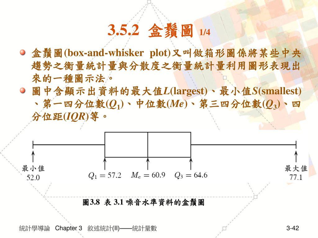 3.5.2 盒鬚圖 1/4 盒鬚圖(box-and-whisker plot)又叫做箱形圖係將某些中央趨勢之衡量統計量與分散度之衡量統計量利用圖形表現出來的一種圖示法。