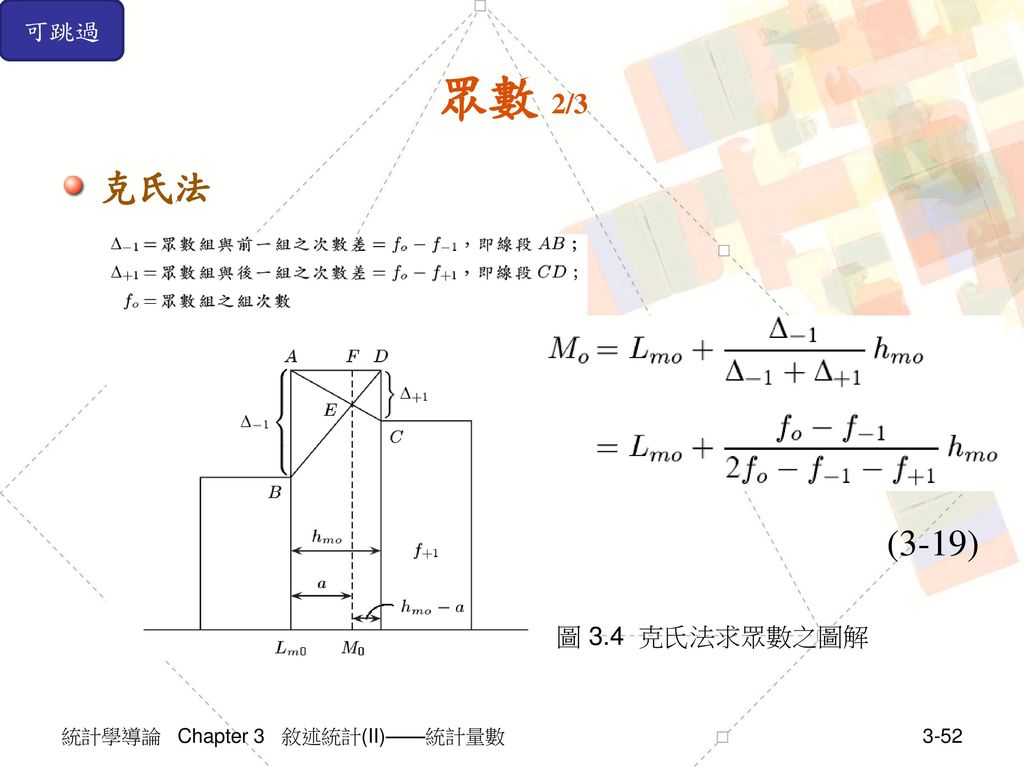 可跳過 眾數 2/3 克氏法 (3-19) 圖 3.4 克氏法求眾數之圖解 統計學導論 Chapter 3 敘述統計(II)——統計量數