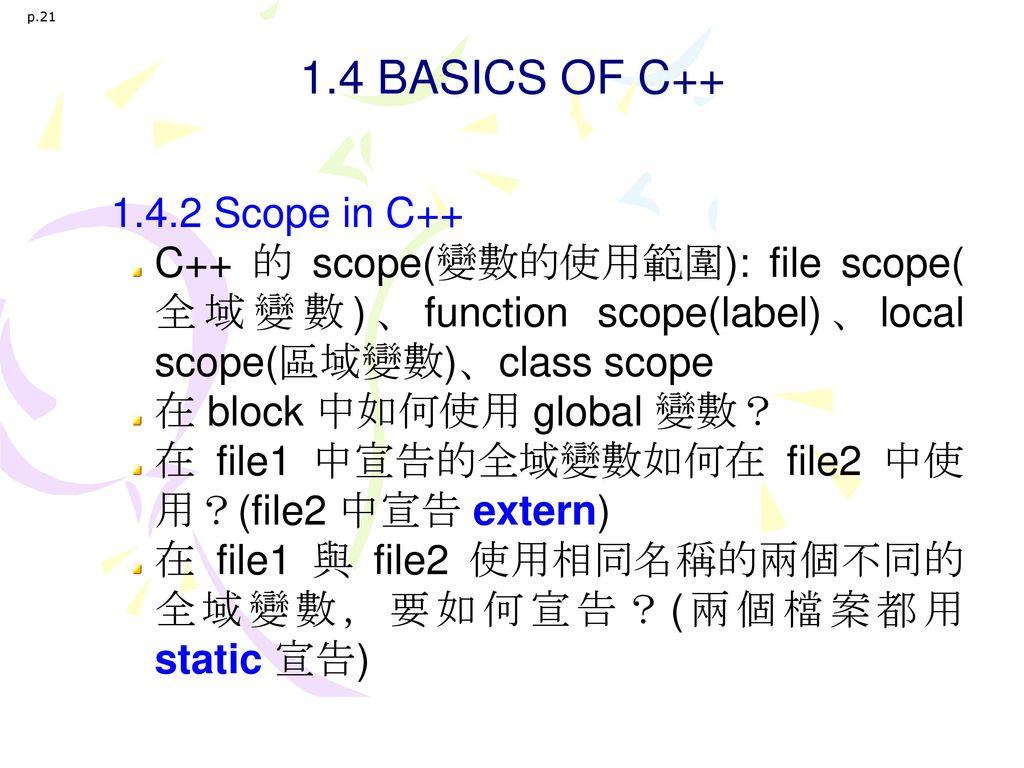 1.4 BASICS OF C++ 1.4.2 Scope in C++