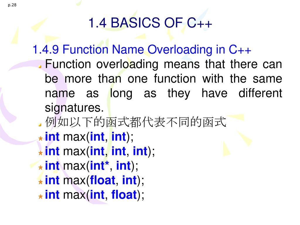1.4 BASICS OF C++ 1.4.9 Function Name Overloading in C++
