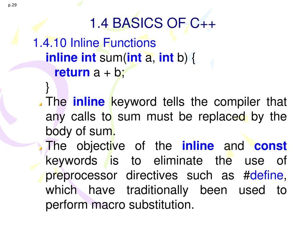1.4 BASICS OF C++ 1.4.10 Inline Functions