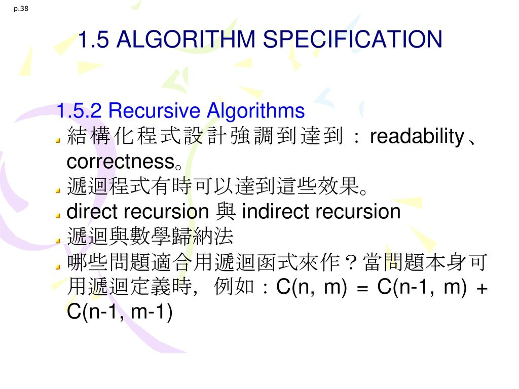 1.5 ALGORITHM SPECIFICATION