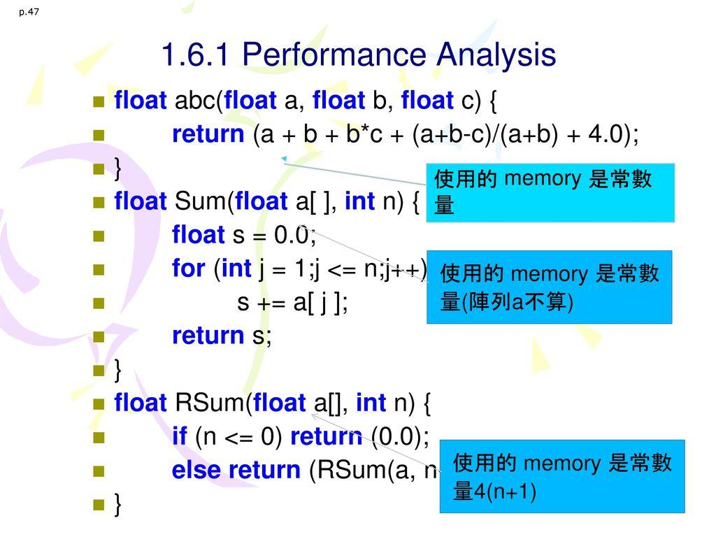 1.6.1 Performance Analysis float abc(float a, float b, float c) {