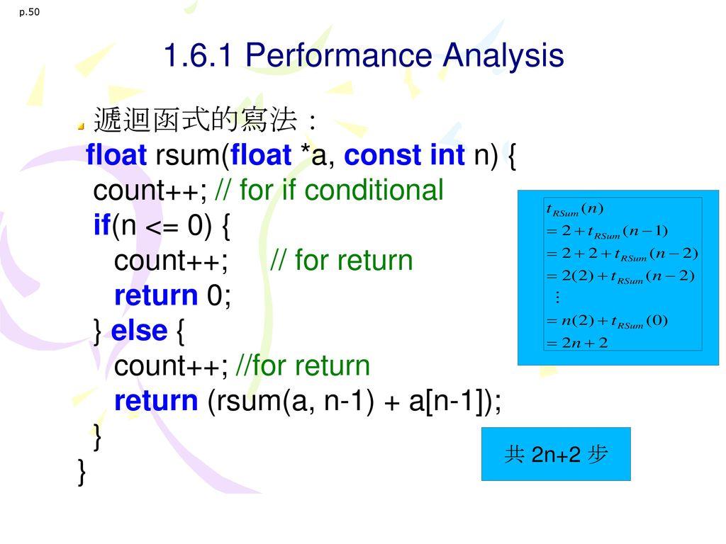 1.6.1 Performance Analysis 遞迴函式的寫法: