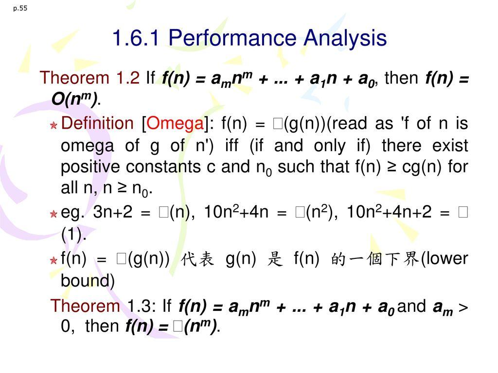 p.55 1.6.1 Performance Analysis. Theorem 1.2 If f(n) = amnm + ... + a1n + a0, then f(n) = O(nm).