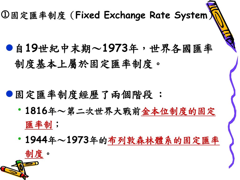 固定匯率制度(Fixed Exchange Rate System)